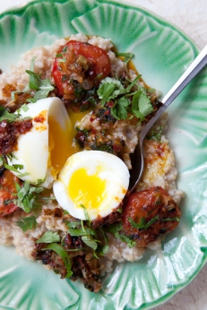 Steel-Cut Oats with Eggs, Preserved Lemon and Olives