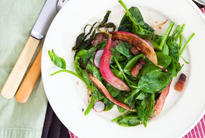 Warm Radish Salad with Bacon and Pea Tips-9547-2