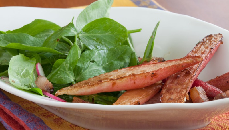Warm Radish Salad with Bacon and Pea Tips-9653