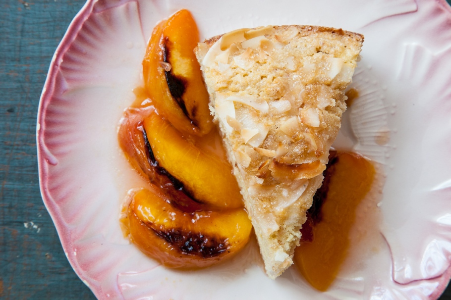 Coconut Yogurt Cake with Roasted Peaches-1