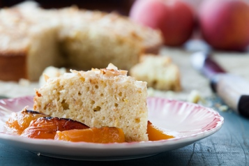 Coconut Yogurt Cake with Roasted Peaches-16