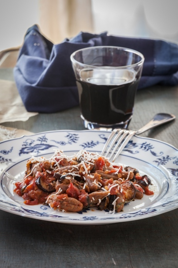 Cavatelli with Tomato-Eggplant Sauce and Ricotta Salata-1