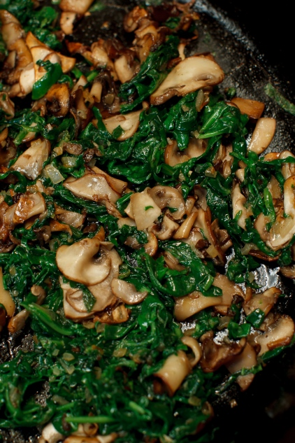 Shirred Eggs with Spinach and Mushrooms TGF -4