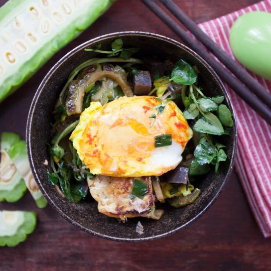 Tofu Stir-Fry with Bitter Melon, Sweet Potatoes and Tutmeric Poached Eggs TGF-13