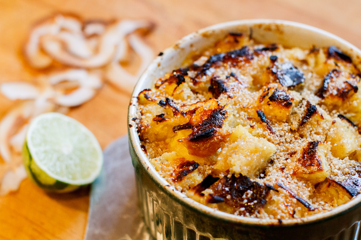 Coconut Banana Lime Bread Pudding TGF-1