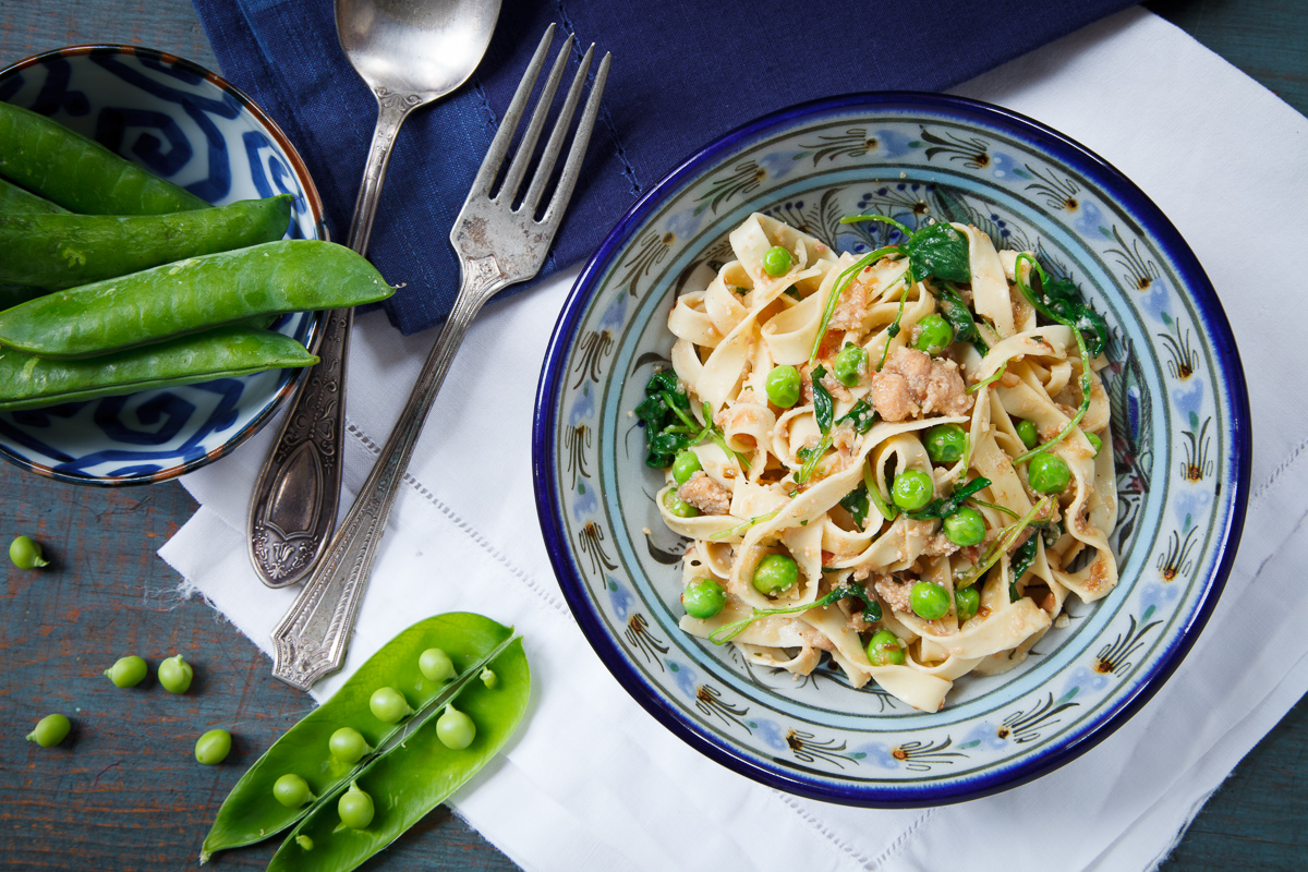 Tagliatelle with Shad Roe, Pancetta and Spring Peas-1
