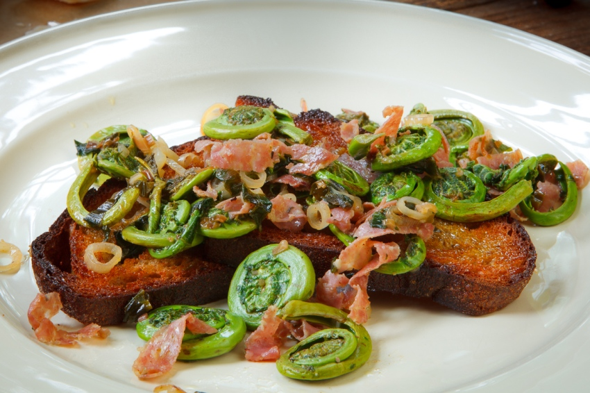 Fiddleheads and Ramps with Salami-1