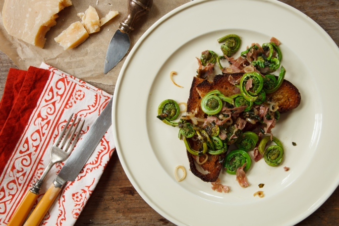 Fiddleheads and Ramps with Salami-15