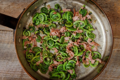 Fiddleheads and Ramps with Salami-2