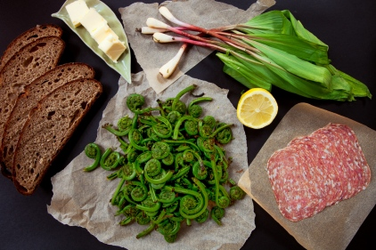 Fiddleheads and Ramps with Salami-3