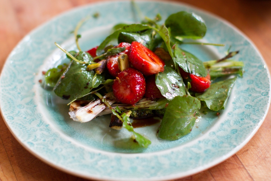 Spring Onion and Strawberry Salad with Pistachio Pesto-1