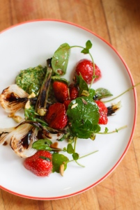 Spring Onion and Strawberry Salad with Pistachio Pesto-23