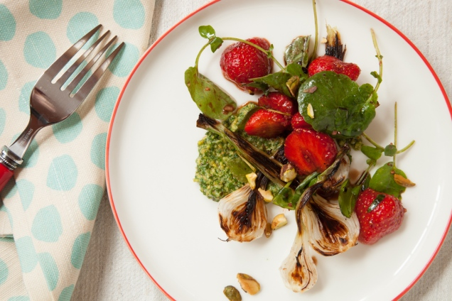 Spring Onion and Strawberry Salad with Pistachio Pesto-27