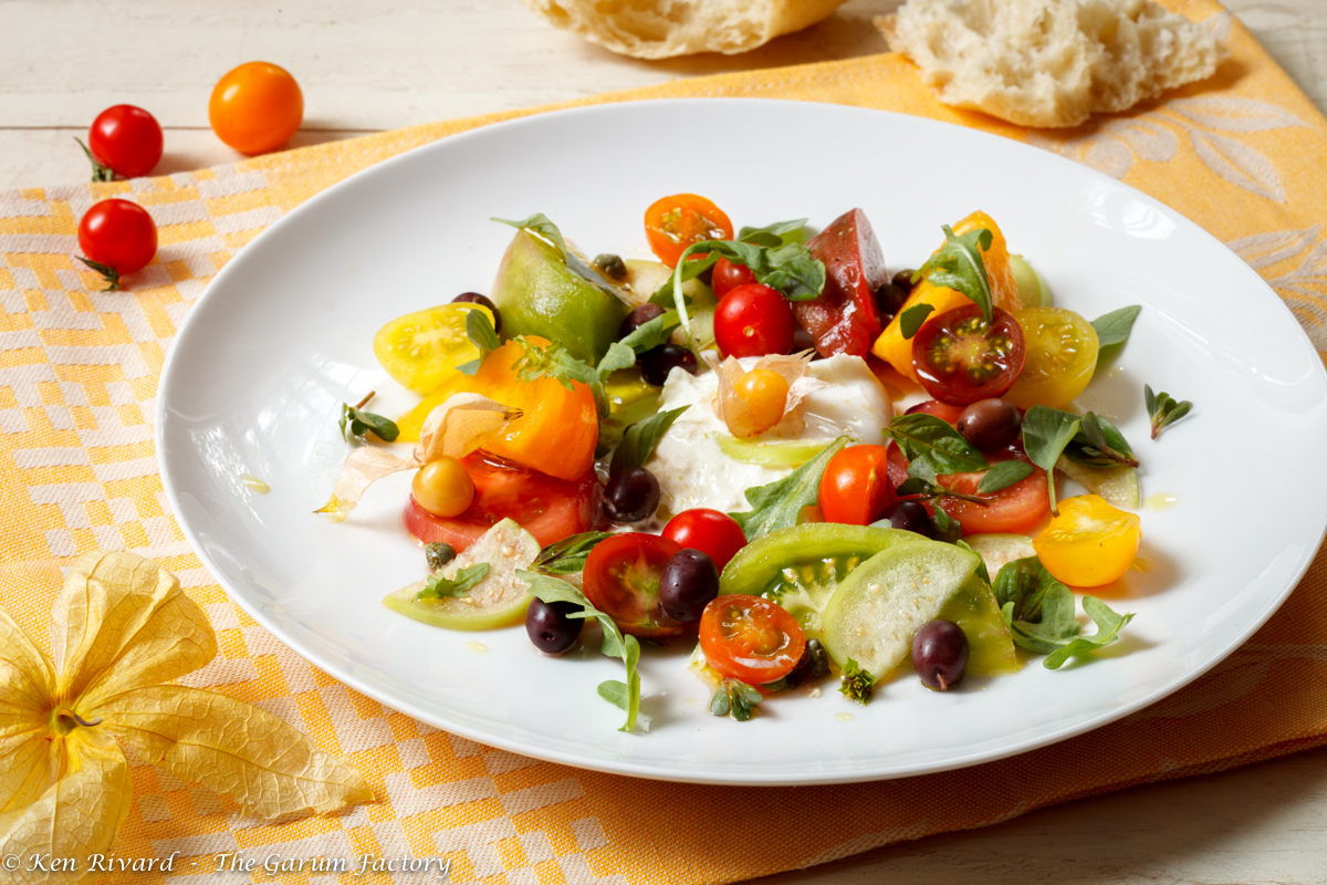 Tomato and Burrata Salad with Basil, Olives and Capers | The Garum ...