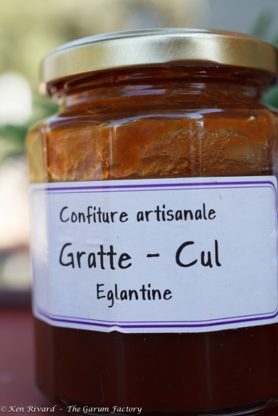 "Gratte - Cul = ""Butt scratcher,"" probably after what happens to you when you brave eglantine (sweetbriar) prickers in order to forage the hips for this jam."