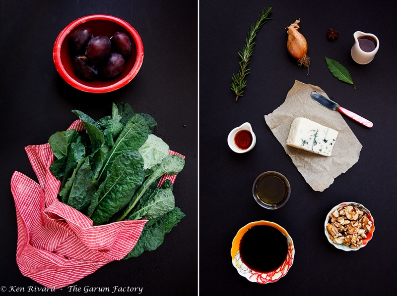 Kale Salad with Plums, Roquefort and Walnuts-2