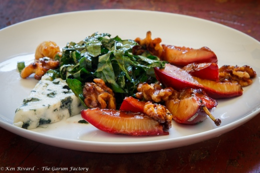 Kale Salad with Plums, Roquefort and Walnuts-9029