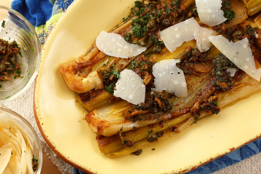 Braised Leeks with Meyer Lemon, Pancetta and Parmigiano Reggiano -1