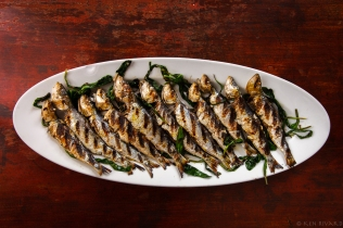 Grilled Sardines with Ramps and Rhubarb Agrodolce-2149