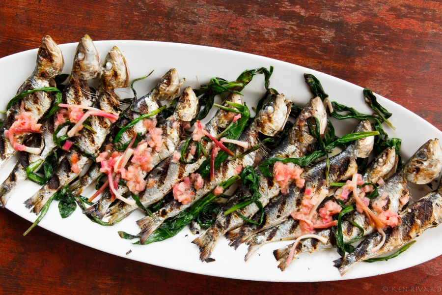 Grilled Sardines with Ramps and Rhubarb Agrodolce-2168