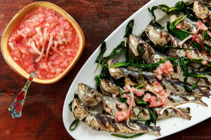 Grilled Sardines with Ramps and Rhubarb Agrodolce-2176