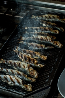 Grilled Sardines with Ramps and Rhubarb Agrodolce-4722