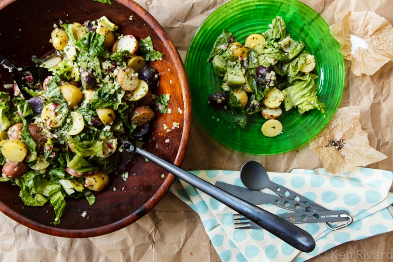 Potato Salad with Wilted Lettuce and Dijon Vinaigrette-0625