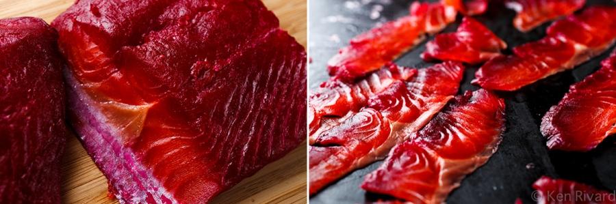 Beet-cured gravlax 2-5-2