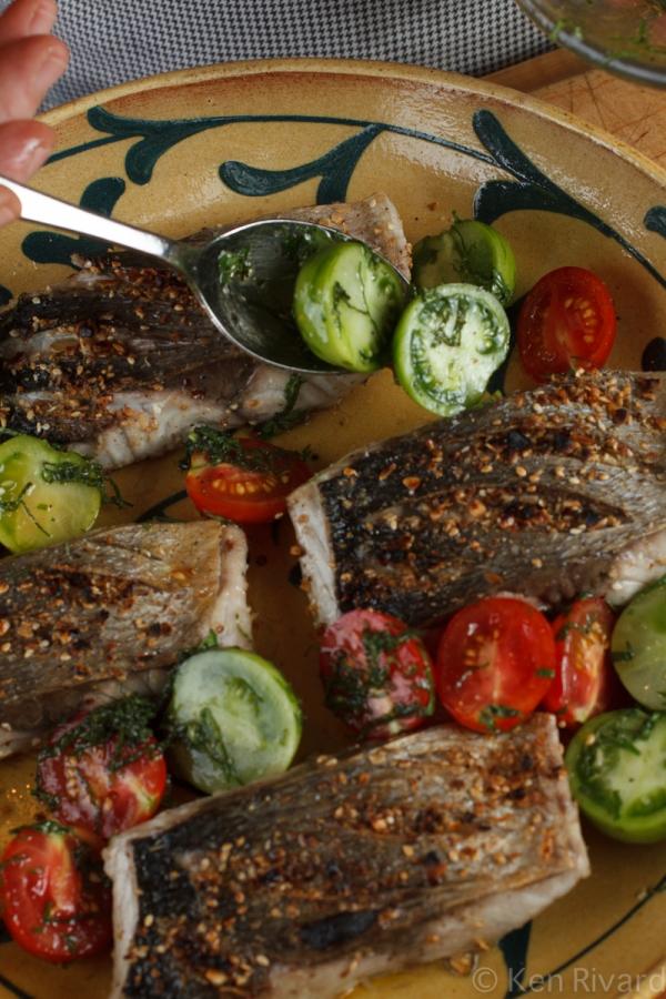 Bluefish with Dukkah, Tomatoes and Garlic Yogurt-22