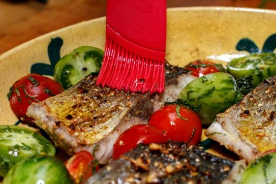 Bluefish with Dukkah, Tomatoes and Garlic Yogurt-23