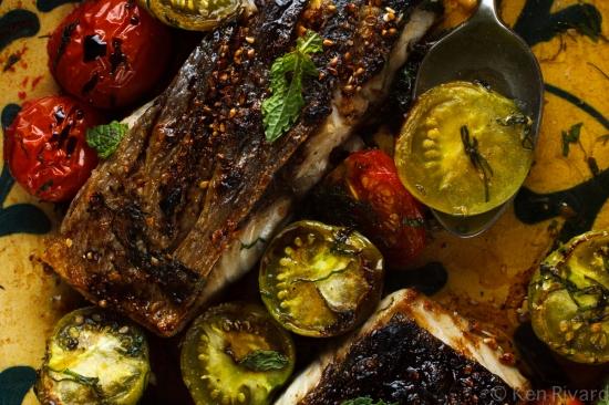 Bluefish with Dukkah, Tomatoes and Garlic Yogurt-25
