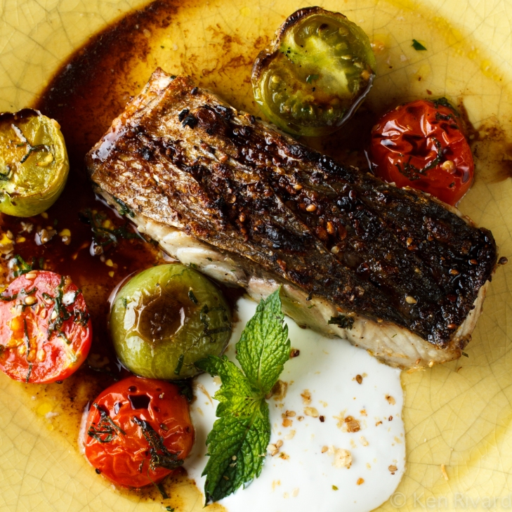 Bluefish with Dukkah, Tomatoes and Garlic Yogurt-27