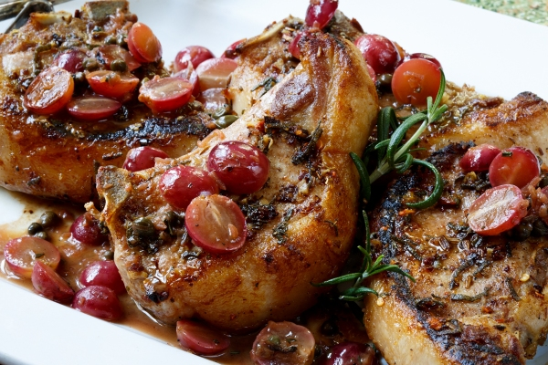 ... – PAN-SEARED PORK CHOPS WITH GRAPES AND LEMON | The Garum Factory