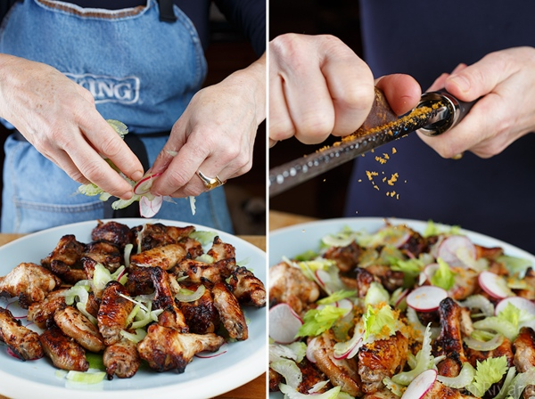 Chicken Wings with Celery and Bottarga 2-2-2