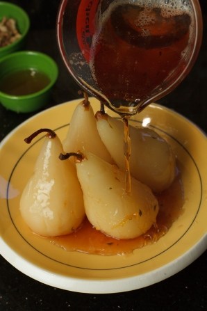 Poached Pears with Honey Walnuts and Roquefort Ice Cream-1704