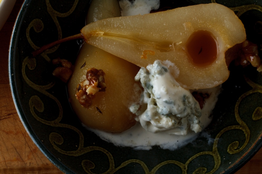 Poached Pears with Honey Walnuts and Roquefort Ice Cream-1834