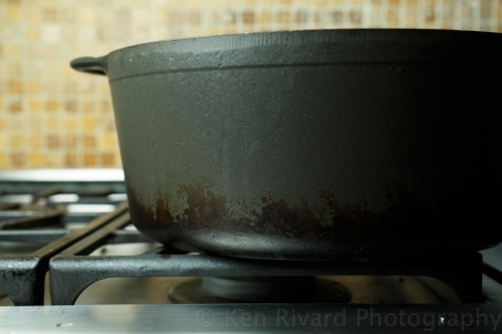 Note the pot sitting off-center on the burner, so the scum bubbles up on one side of the pot.