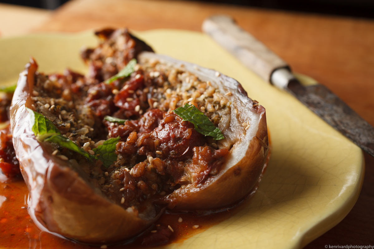 Eggplant with Farro, Ginger and Pomegranate-0622
