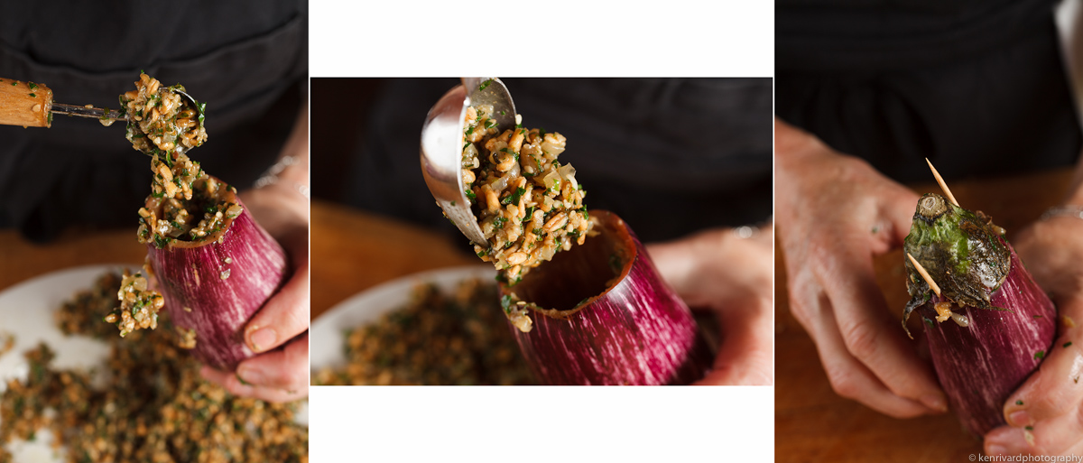 Eggplant with Farro, Ginger and Pomegranate 3-5-2