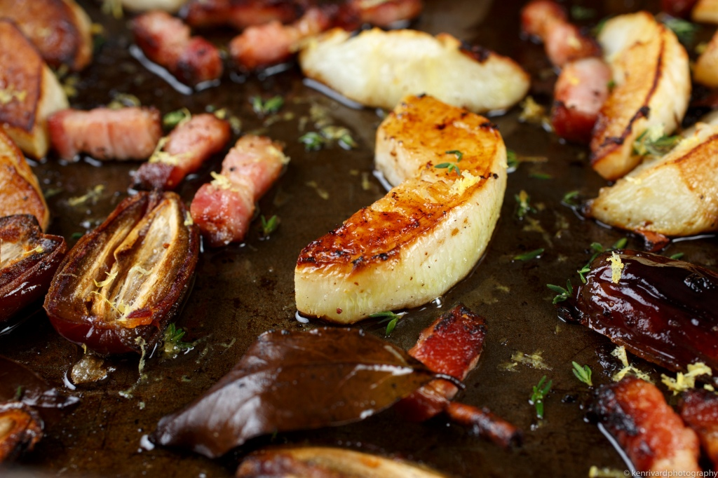Roasted turnips with bacon and dates-9431
