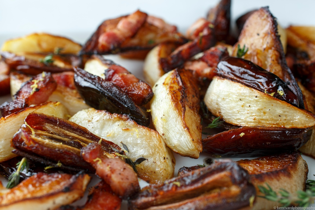 Roasted turnips with bacon and dates-9464